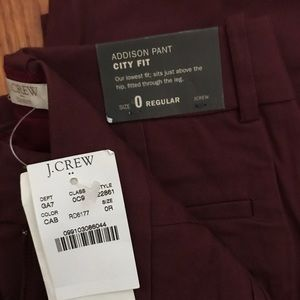 Maroon Addison Fit City Pant from J.Crew NWT!
